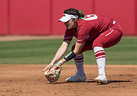 NWA Democrat-Gazette/BEN GOFF @NWABENGOFF<br /> Aly Manzo, Arkansas shortstop, fields a ground ball in the 1st inning vs South Carolina Sunday, March 17, 2019, at Bogle Park in Fayetteville.