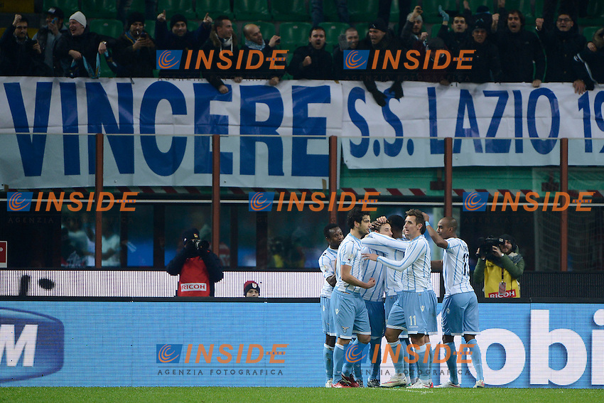 Esultanza gol di Lucas Biglia Lazio 0-1. Celebration goal<br /> Milano 27-01-2015 Stadio Giuseppe Meazza - Football Calcio Coppa Italia Milan - Lazio. Foto Giuseppe Celeste / Insidefoto
