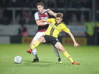 Burnley's Charlie Taylor2 battles with Burton Albion's Jake Hesketh<br /> <br /> Photographer Mick Walker/CameraSport<br /> <br /> The Carabao Cup Round Three   - Burton Albion  v Burnley - Tuesday  25 September 2018 - Pirelli Stadium - Buron On Trent<br /> <br /> World Copyright &copy; 2018 CameraSport. All rights reserved. 43 Linden Ave. Countesthorpe. Leicester. England. LE8 5PG - Tel: +44 (0) 116 277 4147 - admin@camerasport.com - www.camerasport.com