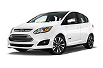 Stock pictures of low aggressive front three quarter view of a 2017 Ford C-Max Hybrid Titanium 5 Door Mini Van
