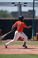 San Francisco Giants Orange left fielder Franklin Labour (49) follows through on his swing during an Extended Spring Training game against the Seattle Mariners at the San Francisco Giants Training Complex on May 28, 2018 in Scottsdale, Arizona. (Zachary Lucy/Four Seam Images)