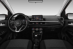 Stock photo of straight dashboard view of 2017 KIA Picanto Fusion 5 Door Hatchback