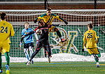 13 November 2019: University of Vermont Catamount Defender Adrian Gahabka, a Senior from Passau, Germany, battles University of Hartford Hawk Forward Nyrik Antoine, a Junior from Baldwin, NY, at Virtue Field in Burlington, Vermont. The Catamounts fell to the visiting Hawks 3-2 in sudden death overtime of the Division 1 Men's Soccer America East matchup. Mandatory Credit: Ed Wolfstein Photo *** RAW (NEF) Image File Available ***