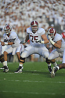 10 September 2011:  Alabama G/T Barrett Jones (75). The Alabama Crimson Tide defeated the Penn State Nittany Lions 27-11 at Beaver Stadium in State College, PA..