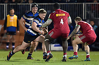 Nick Auterac of Bath United goes on the attack. Aviva A-League match, between Bath United and Harlequins A on March 26, 2018 at the Recreation Ground in Bath, England. Photo by: Patrick Khachfe / Onside Images