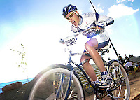 "2004: Tom Danielson of team Fasso Bortolo makes an aggressive face while ""competing"" in the ""Durango 500,"" a fundraiser for Fort Lewis College Cycling modeled after the ""Little 500"" in the cult classic ""Breaking Away."