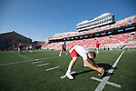 Wisconsin Badgers long snapper warms up prior to an NCAA College Football game against the Florida Atlantic Owls Saturday, September 9, 2017, in Madison, Wis. The Badgers won 31-14. (Photo by David Stluka)
