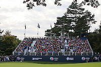 View of the grandstand on the 18th during the Final Round of the British Masters 2015 supported by SkySports played on the Marquess Course at Woburn Golf Club, Little Brickhill, Milton Keynes, England.  11/10/2015. Picture: Golffile | David Lloyd<br /> <br /> All photos usage must carry mandatory copyright credit (© Golffile | David Lloyd)