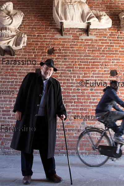Milano,5 marzo 2015 Umberto Eco fotografato al Castello Sforzesco<br /> Umberto Eco portrait at Castello Sforzesco