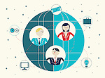 Illustrative image of business people on sphere representing networking