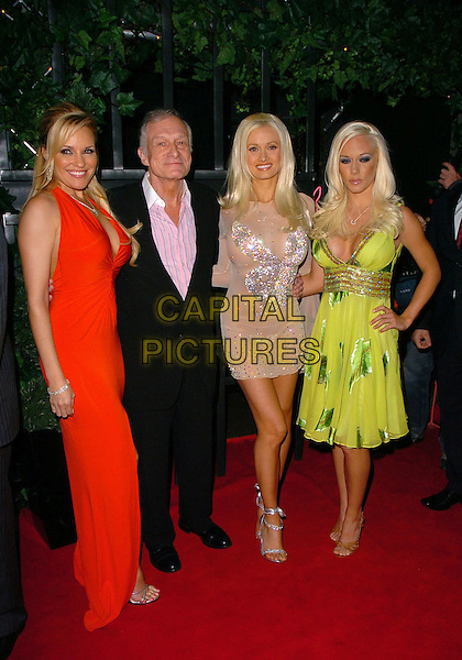 BRIDGET MARQUARDT, HUGH HEFNER, HOLLY MADISON & KENDRA WILKINSON.At Hugh Hefner's 80th Birthday Party,.The Play Room, London, England, May 23rd 2006..full length hugh's girlfriends playboy bunny logo silver sparkly see through dress sheer knickers green red.Ref: CAN.www.capitalpictures.com.sales@capitalpictures.com.©Can Nguyen/Capital Pictures
