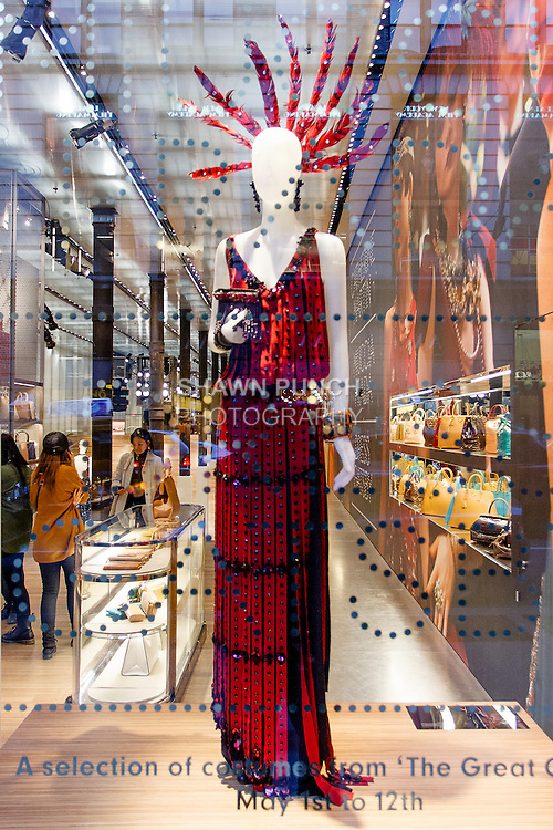 Dress shown at the Catherine Martin and Muccia Prada Dress Gatsby display at Prada store in SOHO, NYC May 4, 2013.