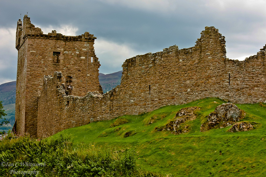 Urquhart Castle against a stormy sky