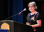 Western Nevada College Instructor Kathleen Plante speaks at a ceremony as more than 100 students received their High School Equivalency during a Western Nevada College ceremony in Carson City, Nev., on Monday, June 19, 2017. <br />Photo by Cathleen Allison/Nevada Photo Source