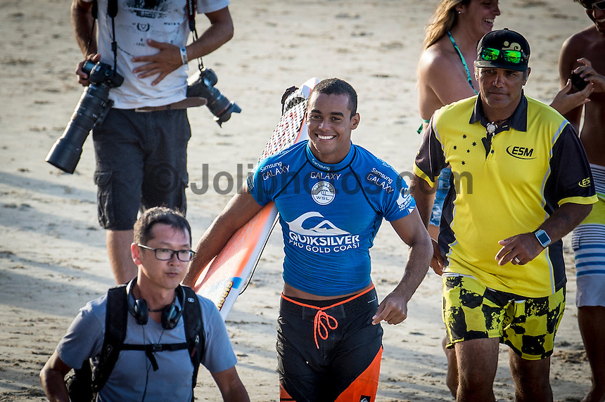 Snapper Rocks, COOLANGATTA, Queensland/Australia (Wednesday, March 11, 2015) Wiggolly Dantas (BRA). - Competition at the Quiksilver Pro Gold Coast recommenced today after 11 consecutive lay days and ran through Round 2 at Snapper Rocks. The world&rsquo;s best surfers battled through tough conditions to avoid elimination and earn a place in Round 3. Top seeds Mick Fanning (AUS) and Kelly Slater (USA) both advanced but there were some upsets in the Round.<br />  <br /> -  Photo: joliphotos.com