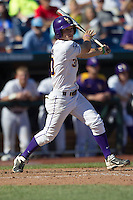 Louisiana State shortstop Alex Bregman (30) follows through on his swing against the North Carolina Tar Heels during Game 7 of the 2013 Men's College World Series on June 18, 2013 at TD Ameritrade Park in Omaha, Nebraska. The Tar Heels defeated the Tigers 4-2, eliminating LSU from the tournament. (Andrew Woolley/Four Seam Images)
