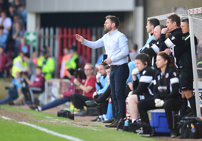 Scunthorpe United manager Graham Alexander shouts instructions to his team from the dug-out<br /> <br /> Photographer Chris Vaughan/CameraSport<br /> <br /> The EFL Sky Bet League One - Scunthorpe United v Bolton Wanderers - Saturday 8th April 2017 - Glanford Park - Scunthorpe<br /> <br /> World Copyright &copy; 2017 CameraSport. All rights reserved. 43 Linden Ave. Countesthorpe. Leicester. England. LE8 5PG - Tel: +44 (0) 116 277 4147 - admin@camerasport.com - www.camerasport.com