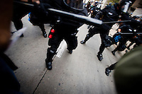 Police clash with protesters during a spontaneous march during the 2008 Democratic National Convention in Denver, Colorado, USA, Monday, August 26, 2008. About 100 people were arrested during the protest...PHOTOS/  MATT NAGER