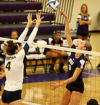 SIOUX FALLS, SD - SEPTEMBER 19:  Becca Finley #4 from Augustana battles for the ball with Jordan Calef #3 from the University of Sioux Falls during their match Saturday afternoon at the Stewart Center. (Photo by Dave Eggen/Inertia)