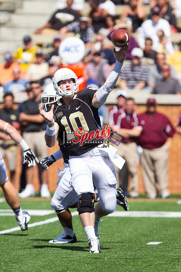 Tanner Price (10) of the Wake Forest Demon Deacons looks to pass the ball during second half action against the Louisiana-Monroe Warhawks at BB&T Field on September 14, 2012 in Winston-Salem, North Carolina.  The Warhawks defeated the Demon Deacons 21-19.    (Brian Westerholt/Sports On Film)