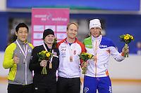 SCHAATSEN: CALGARY: Olympic Oval, 10-11-2013, Essent ISU World Cup, podium 500m, Tae-Bum Mo (KOR), Tucker Fredricks (USA), Jamie Gregg (CAN), Ronald Mulder (NED), ©foto Martin de Jong