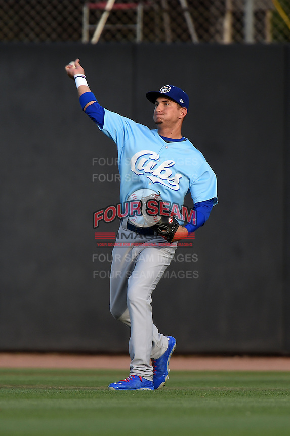 Daytona Cubs outfielder Albert Almora (6) throws the ball in during a game against the Dunedin Blue Jays on April 14, 2014 at Florida Auto Exchange Stadium in Dunedin, Florida.  Dunedin defeated Daytona 1-0  (Mike Janes/Four Seam Images)