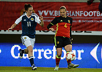 20170411 - LEUVEN ,  BELGIUM : Belgian Maud Coutereels (r)  pictured with Scottish Lisa Evans (left) during the friendly female soccer game between the Belgian Red Flames and Scotland , a friendly game in the preparation for the European Championship in The Netherlands 2017  , Tuesday 11 th April 2017 at Stadion Den Dreef  in Leuven , Belgium. PHOTO SPORTPIX.BE | DAVID CATRY