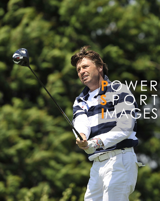 JEJU, SOUTH KOREA - APRIL 25:  Robert-Jan Derksen of The Netherlands tees off on the 7th hole during the Round Three of the Ballantine's Championship at Pinx Golf Club on April 25, 2010 in Jeju, South Korea. Photo by Victor Fraile / The Power of Sport Images