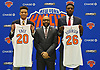 New York Knicks 2018 NBA Draft picks Kevin Knox (first round, ninth overall), left, and Mitchell Robinson (second round, 36th overall), right, pose with Head Coach David Fizdale during the draftees' introductory news conference at Madison Square Garden Training Center in Greenburgh, NY on Friday, June 22, 2018.