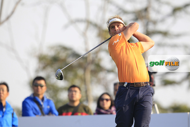 Joost Luiten (NED) tees off the 16th tee during Sunday's Final Round of the 2014 BMW Masters held at Lake Malaren, Shanghai, China. 2nd November 2014.<br /> Picture: Eoin Clarke www.golffile.ie