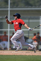 Boston Red Sox Jordon Austin (44) during a minor league spring training game against the Baltimore Orioles on March 18, 2015 at Buck O'Neil Complex in Sarasota, Florida.  (Mike Janes/Four Seam Images)