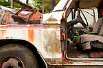 Old abandoned truck rusted and deteriorating along side of road.