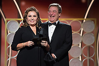 Roseanne Barr and John Goodman present at the 75th Annual Golden Globe Awards at the Beverly Hilton in Beverly Hills, CA on Sunday, January 7, 2018.<br /> *Editorial Use Only*<br /> CAP/PLF/HFPA<br /> &copy;HFPA/PLF/Capital Pictures