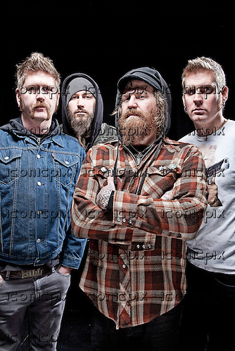 Mastodon - L-R: Bill Kelliher, Troy Sanders, Brent Hinds, Brann Dailor - photographed at the Academy in Manchester UK - Feb 20, 2010.  Photo: © Ashley Maile/IconicPix  *HIGHER RATES APPLY*