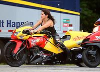 May 15, 2015; Commerce, GA, USA; NHRA pro stock motorcycle rider Angelle Sampey  during qualifying for the Southern Nationals at Atlanta Dragway. Mandatory Credit: Mark J. Rebilas-USA TODAY Sports