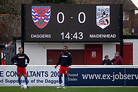 The scoreboard ahead of Dagenham & Redbridge vs Maidenhead United, Vanarama National League Football at the Chigwell Construction Stadium on 7th December 2019