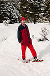 California, Lake Tahoe: Man on snowshoes author photographer Lee Foster at North Lake Tahoe Regional Park.  Photo copyright Lee Foster.  Photo # cataho107624
