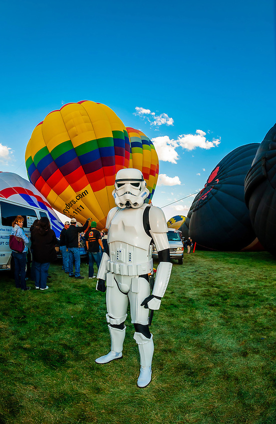 Imperial stormtrooper (Star Wars character), Balloon Fiesta Park, Albuquerque International Balloon Fiesta, Albuquerque, New Mexico USA.