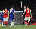 Chelsea's Diego Costa gets booked during the Premier League match at the Emirates Stadium, London. Picture date September 24th, 2016 Pic David Klein/Sportimage