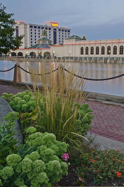 Harrah's Casino is seen across the DesPlaines River from Bicenteenial Park, Joliet, Illinois