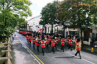 Pictured: The Welsh Guards parade through St Helen's Street in Swansea.  Friday 15 September 2017<br />Re: Soldiers from the Welsh Guards have exercised their freedom to march through the streets of Swansea in Wales, UK.<br />The Welsh warriors paraded with bayonets-fixed from the city centre to the Brangwyn Hall, where the Lord Mayor of Swansea took a salute.