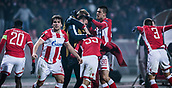 7th December 2017, Rajko Mitic Stadium, Belgrade, Serbia, UEFA Europa League football, Red Star Belgrade versus FC Cologne; Defender Filip Stojkovic of Red Star Belgrade, Midfielder Mitchell Donald of Red Star Belgrade, Midfielder Branko Jovicic of Red Star Belgrade, Midfielder Slavoljub Srnic of Red Star Belgrade and Defender Vujadin savic of Red Star Belgrade celebrate their goal for 1-0