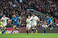 Twickenham, United Kingdom.  England on the break, Kyle SINCKLER, withe ball,  running with the ball, during the  6 Nations International Rugby Match, England vs Italy at the RFU Stadium, Twickenham, England, <br /> <br /> Sunday  26/02/2017<br /> <br /> [Mandatory Credit; Peter Spurrier/Intersport-images]