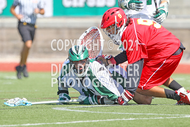 San Diego, CA 05/21/11 - Michael Henry (Cathedral Catholic #9) and Andrew Woolf (Coronado #10) in action during the 2011 CIF San Diego Section Division 2 Varsity Lacrosse Championship between Cathedral Catholic and Coronado.