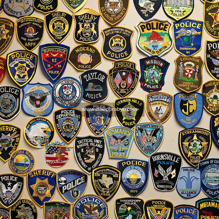 View of law enforcement badges from the US and all over the world FBI in a room at the FBI Academy in Quantico, VA, USA, 12 May 2009.