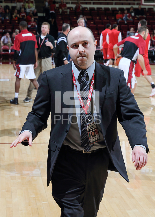 STANFORD, CA - March 8, 2014: Brian Risso, Stanford Director of Athletic Communications before Stanford's 61-60 victory over Utah at Maples Pavilion.