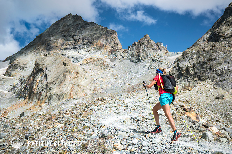 The Chamonix to Zermatt Glacier Haute Route. In late August 2017, we ran the tour in mountain running gear, running shoes, and all the necessary glacier travel and crevasse rescue gear. On the long uphill trail to the Bertol Hut.