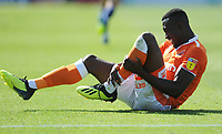 Blackpool's Joe Dodoo grimaces in pain<br /> <br /> Photographer Kevin Barnes/CameraSport<br /> <br /> The EFL Sky Bet League One - Wycombe Wanderers v Blackpool - Saturday 4th August 2018 - Adams Park - Wycombe<br /> <br /> World Copyright &copy; 2018 CameraSport. All rights reserved. 43 Linden Ave. Countesthorpe. Leicester. England. LE8 5PG - Tel: +44 (0) 116 277 4147 - admin@camerasport.com - www.camerasport.com