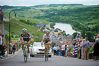 Dube Quintero (COL) &amp; Jay Thomson (RSA) leading the stage up a category 1 climb in Wormeldange-Haut<br /> <br /> 2013 Tour of Luxemburg<br /> stage 1: Luxembourg - Hautcharage (184km)