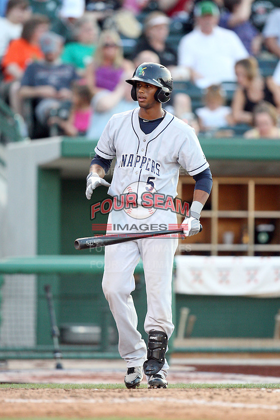 Beloit Snappers Aaron Hicks during the Midwest League All Star Game at Parkview Field in Fort Wayne, IN. June 22, 2010. Photo By Chris Proctor/Four Seam Images